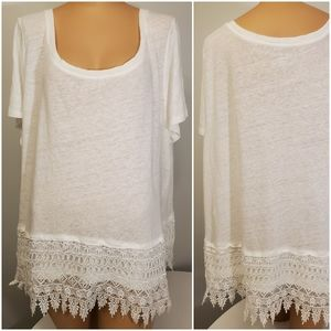 Lane Bryant White Tee with Lace Trim 26/28